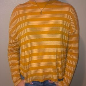 Forever 21 Yellow Striped Long-sleeve Tee